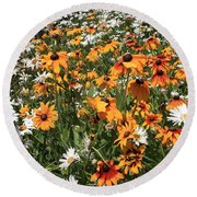 South Lake Tahoe Flowers Round Beach Towel
