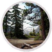 South Lake Tahoe Mountain Trail Round Beach Towel