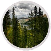 South Lake Through The Pines Round Beach Towel