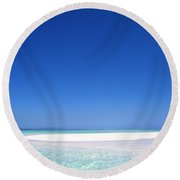 South Pacific Sandbar2 Round Beach Towel