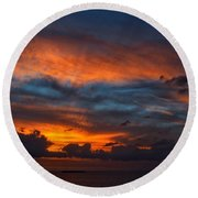 South Pacific Sunset Round Beach Towel
