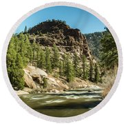 South Platte In Heavy Spring Flows And Wind Round Beach Towel