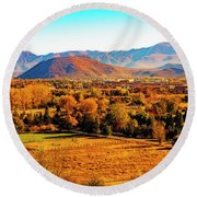 South Reno In Fall Round Beach Towel