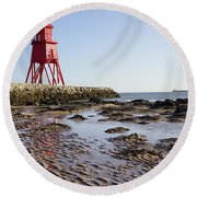 South Shields Groyne Round Beach Towel