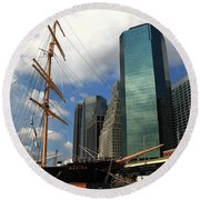 South Street Seaport - New York City Round Beach Towel