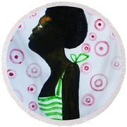 South Sudanese Lady Round Beach Towel