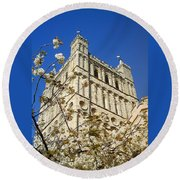 South Tower Exeter Cathedral Round Beach Towel