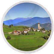 South Tyrolean Panorama Above Bolzano. Round Beach Towel
