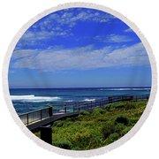 South West Coastline Round Beach Towel