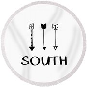 South With Arrows- Art By Linda Woods Round Beach Towel