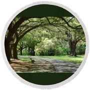 Southern Bench Round Beach Towel