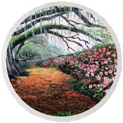 Southern Charm Oak And Azalea Round Beach Towel