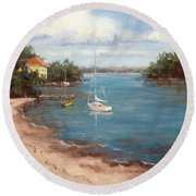 Southern Como Cottage Round Beach Towel