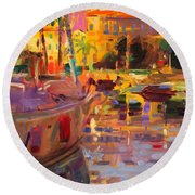 Southern French Port Round Beach Towel
