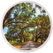 Southern Lane - Evergreen Plantation Round Beach Towel