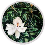 Southern Magnolia Bud And Bloom Round Beach Towel