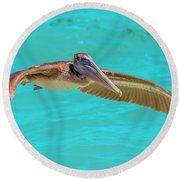 Southern Most Pelican Round Beach Towel
