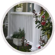 Southern Summer Flowers And Porch Round Beach Towel