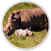 Southern White Rhino With A Little One Round Beach Towel