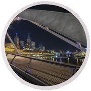 Southgate Bridge At Night Round Beach Towel