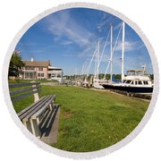 Southport Harbor Connecticut Round Beach Towel