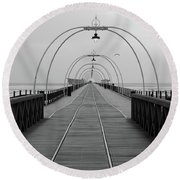 Southport Pier At Sunset With Walkway And Tram Lines Round Beach Towel