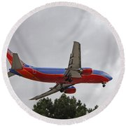 Southwest Airlines 737 On Approach Into Las Vegas Nv Round Beach Towel