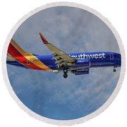 Southwest Airlines Boeing 737-76n Round Beach Towel