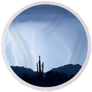 Southwest Desert Lightning Blues Round Beach Towel