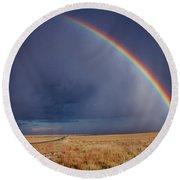 Southwest Double Rainbow Round Beach Towel