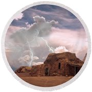 Southwest Navajo Rock House And Lightning Strikes Round Beach Towel