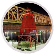 Southwest Reef Lighthouse, Berwick, Louisiana Round Beach Towel