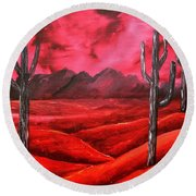Southwestern Abstract Oil Painting Round Beach Towel