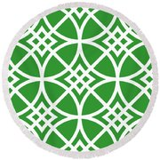 Southwestern Inspired With Border In Dublin Green Round Beach Towel