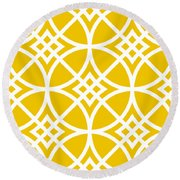 Southwestern Inspired With Border In Mustard Round Beach Towel