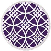 Southwestern Inspired With Border In Purple Round Beach Towel