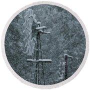 Southworth Windmill Snow Bound Round Beach Towel