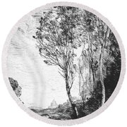 Souvenir Of Italy Round Beach Towel by Jean-Baptiste-Camille Corot