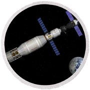 Soyuz Deep Space Explorer Docked Begins Round Beach Towel