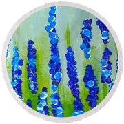 Blue Garden Round Beach Towel