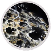 Space Art. Moon And Us Flag Round Beach Towel