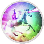 Space Cat Riding Unicorn - Laser, Tacos And Rainbow Round Beach Towel