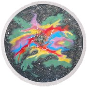 Space Garden Round Beach Towel