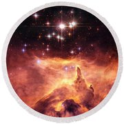 Space Image Orange And Red Star Cluster With Blue Stars Round Beach Towel