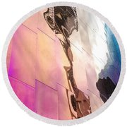 Space Needle Reflection Round Beach Towel