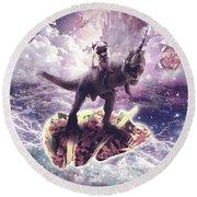 Space Pug Riding Dinosaur Unicorn - Pizza And Taco Round Beach Towel