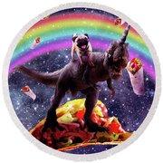 Space Pug Riding Dinosaur Unicorn - Taco And Burrito Round Beach Towel