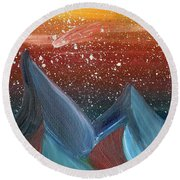 Space Scape Round Beach Towel