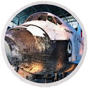 Space Shuttle Discovery View No. 2 Round Beach Towel