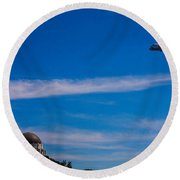 Space Shuttle Over Griffith Observatory Round Beach Towel